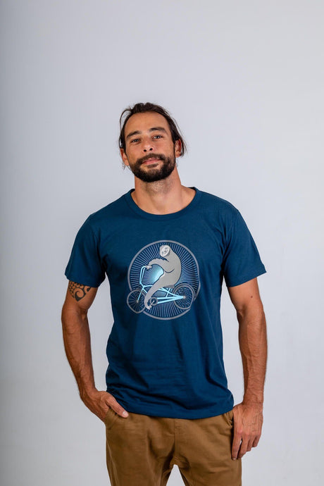 Skumi Mens T Shirt Sloth Rider Navy Blue - Global Free Style