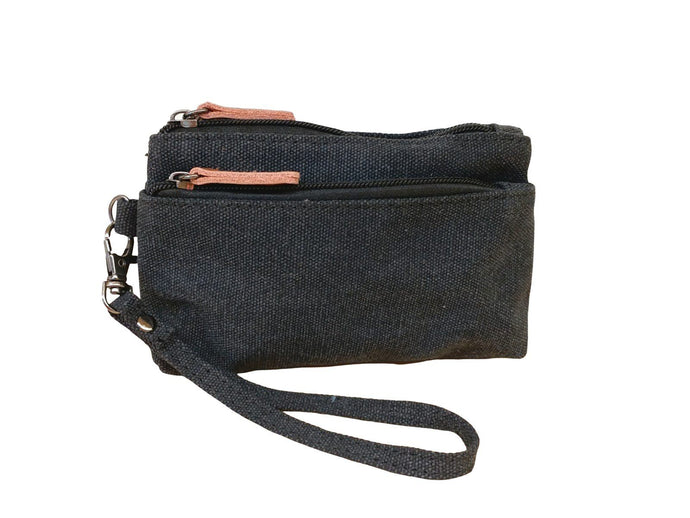 Daisys Collection Double Zip Canvas Unisex Clutch Bag - Black - Global Free Style