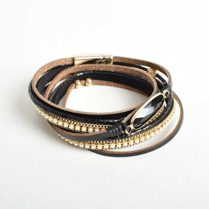 Adorne Crystal & Pearl Leather Wrap Bracelet Black/Gold - Global Free Style