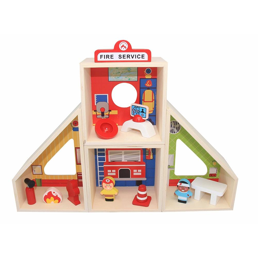 ToysLink Wooden Toy Fire Station Play Set - Global Free Style
