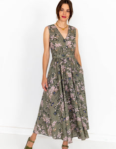 Lazybones Estelle Dress in Sakura Print Organic Cotton - Global Free Style
