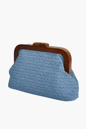 Adorne Textured Denim Frame Clutch - Global Free Style