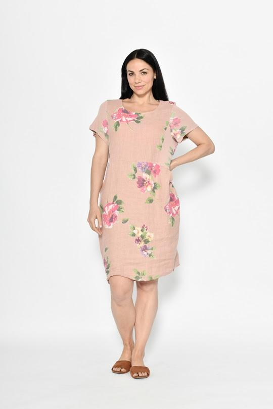 Cali & Co Short Sleeve Dress Rosie Dusty Pink - Global Free Style