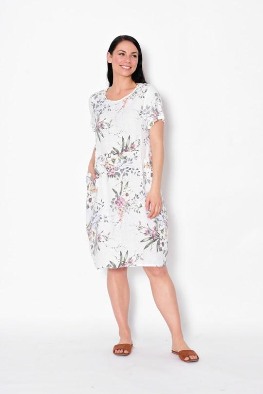 Cali & Co Short Sleeve Dress Bouquet White - Global Free Style