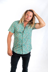 Skumi Mens Button Up Short Sleeve Irish Emerald - Global Free Style