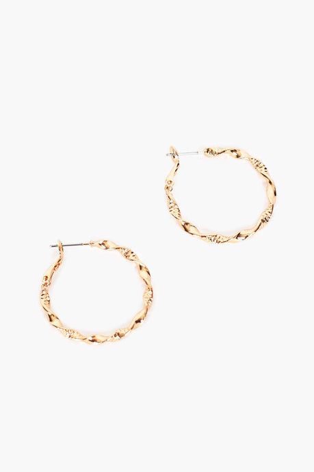 Adorne Etched Fine Twist Hoops Gold - Global Free Style