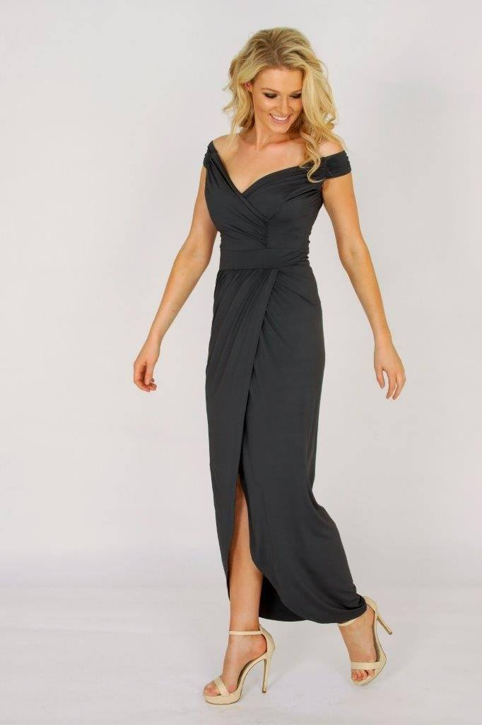 3rd Love Holiday Grey Off The Shoulder Maxi Dress