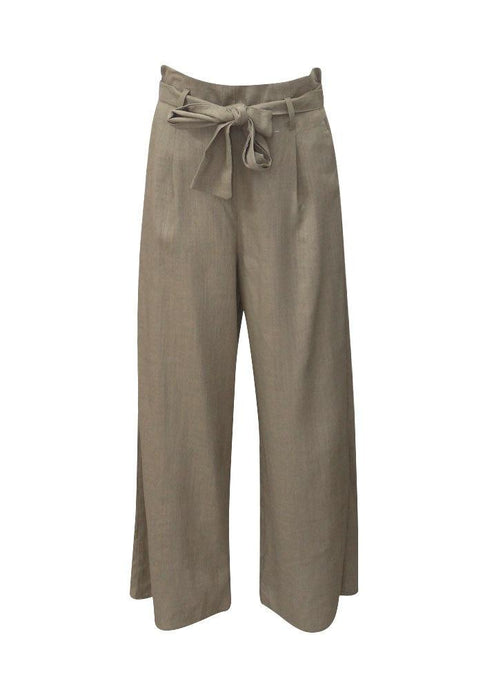 Sunny Girl Culotte Linen Pants - Khaki Sage Green - Global Free Style