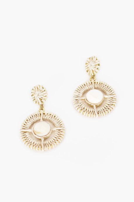 Adorne Crochet Shell Centre Stud Drop Earrings Stone/Cream - Global Free Style