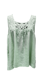Worthier Lia Sleeveless Lace Feature Top Pale Green - Global Free Style