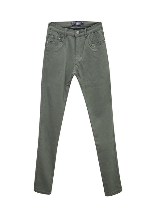 Country Denim Straight Leg Super Stretch Jeans Khaki Green - Global Free Style