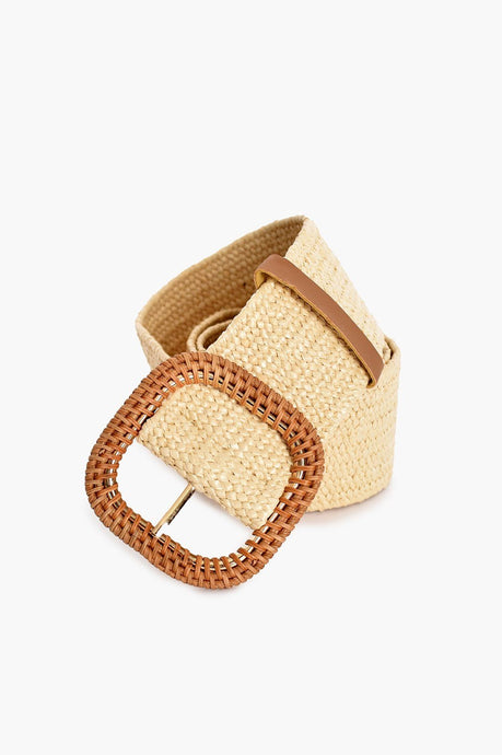 Adorne Rattan Buckle Weave Belt Cream/ Natural - Global Free Style