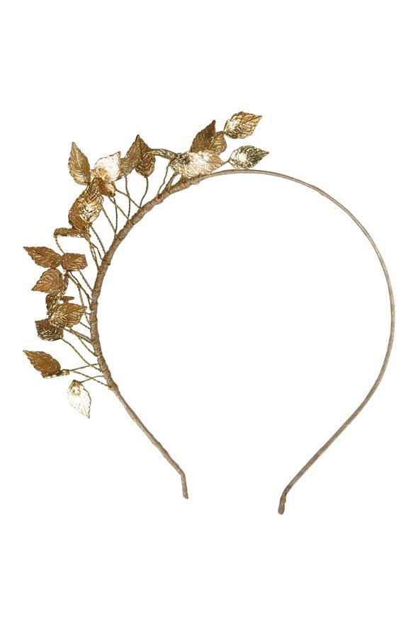 Morgan & Taylor Honey Fascinator Headpiece - Gold dancing leaves - Global Free Style