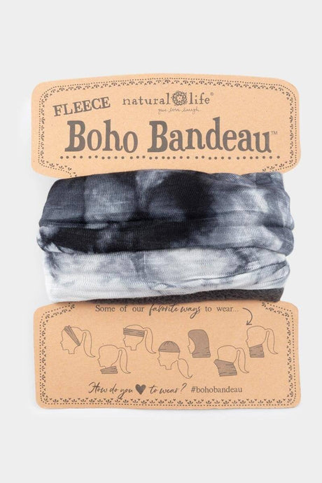 Natural Life Fleece Boho Bandeau White Black Tie Dye - Global Free Style