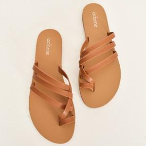 Adorne Palermo Cross Over Toe Strap Shoe Tan - Global Free Style