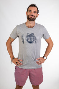 Skumi Mens T shirt Bird on a Wire Grey - Global Free Style