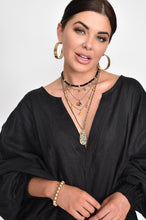 Adorne Gigi Stone Pendant Layer Necklace Black/Gold - Global Free Style