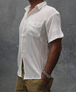 Nikona Cotton Cheesecloth Men's Shirt - Short Sleeve - Global Free Style