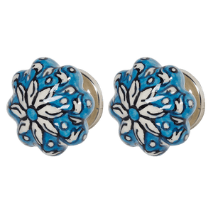 DWBH Hand Painted Ceramic Door Knob Turquoise - Global Free Style