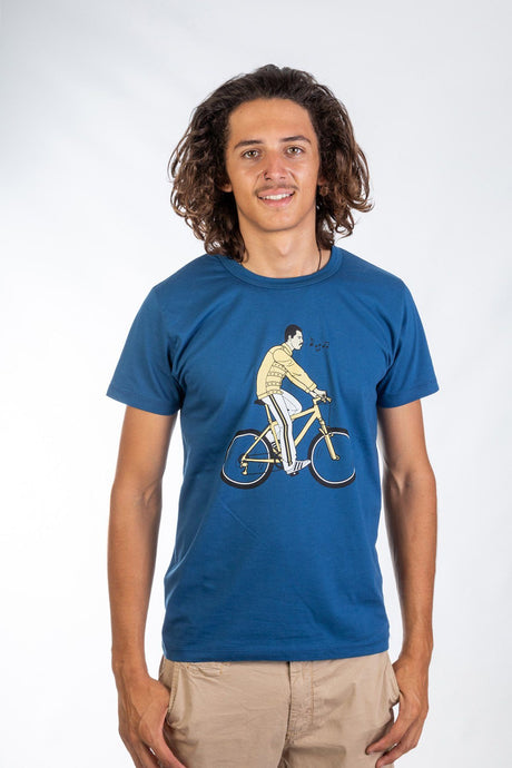Skumi Mens T Shirt Freddie on his Bike Blue - Global Free Style