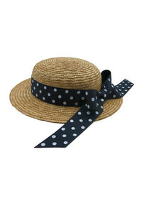 Morgan & Taylor Eleni Mini Boated Fascinator Hat with Ribbon Trim - Navy - Global Free Style