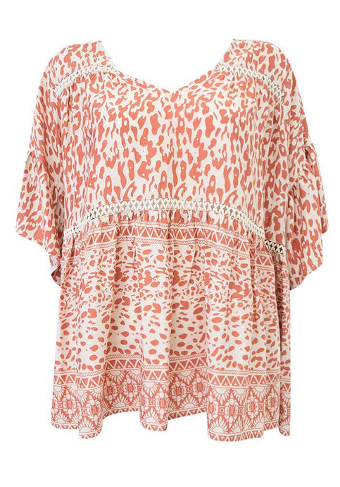 Sunny Girl Linda Long Sleeve Top Blush Leopard - Global Free Style