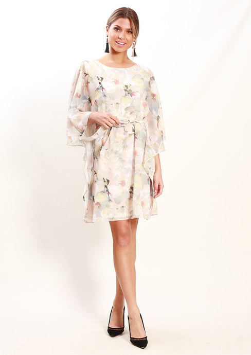 Teaberry Luna Apricot Garden Wide Sleeve Tie Dress - Global Free Style