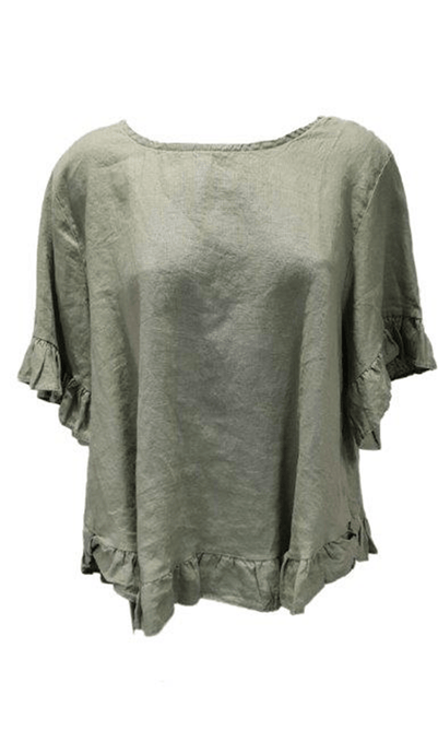 Worthier Linen Cindy Short Sleeve Top Khaki - Global Free Style