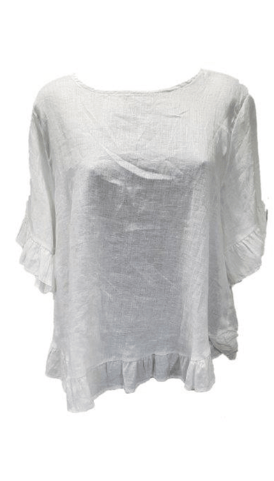 Worthier Linen Cindy Short Sleeve Top White - Global Free Style