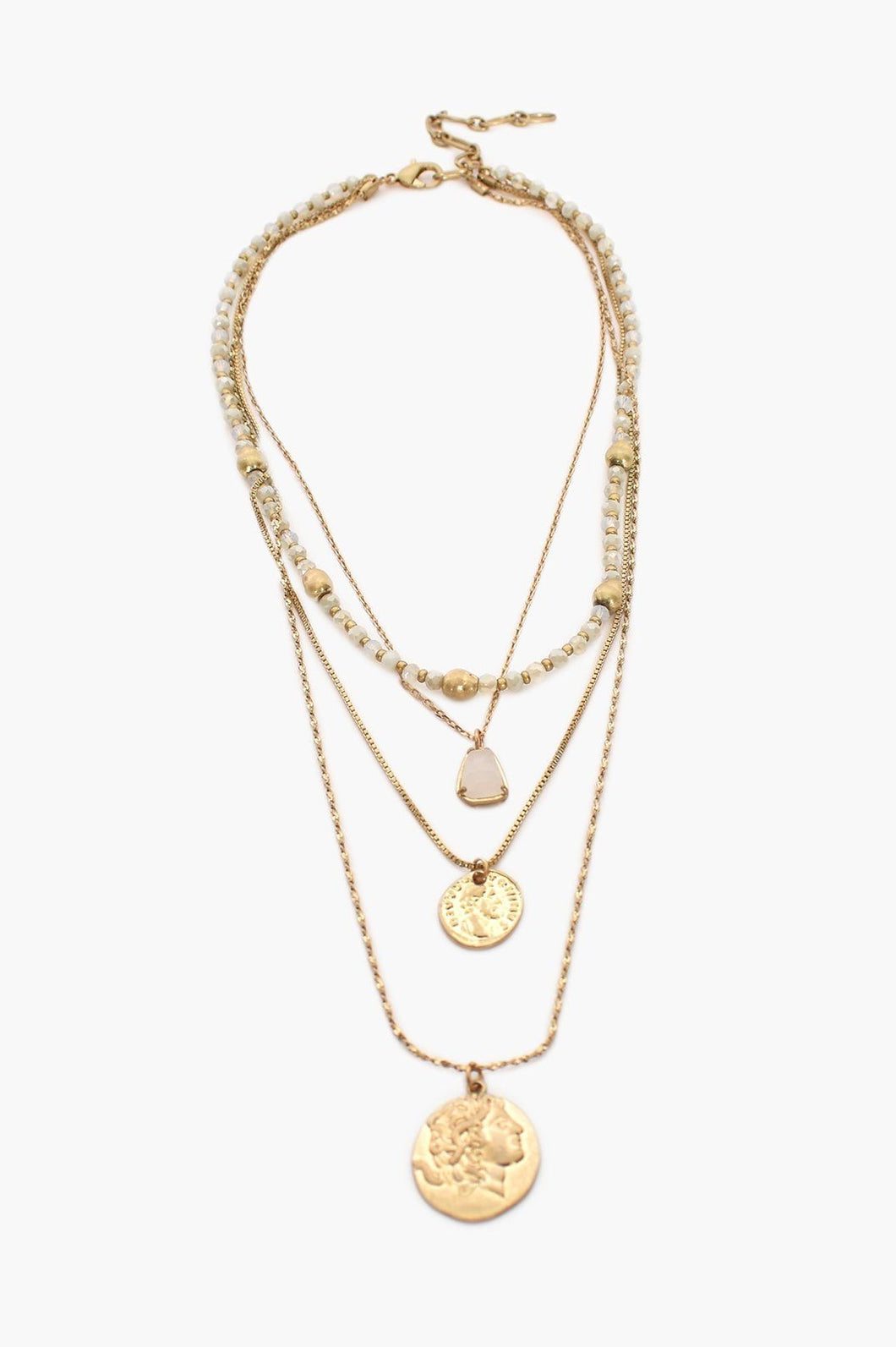 Adorne Sophie Stone Coin Layers Necklace White Gold - Global Free Style