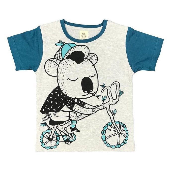 Monster Threads Kids Tee Shirt Koala Biking Grey Marle - Global Free Style