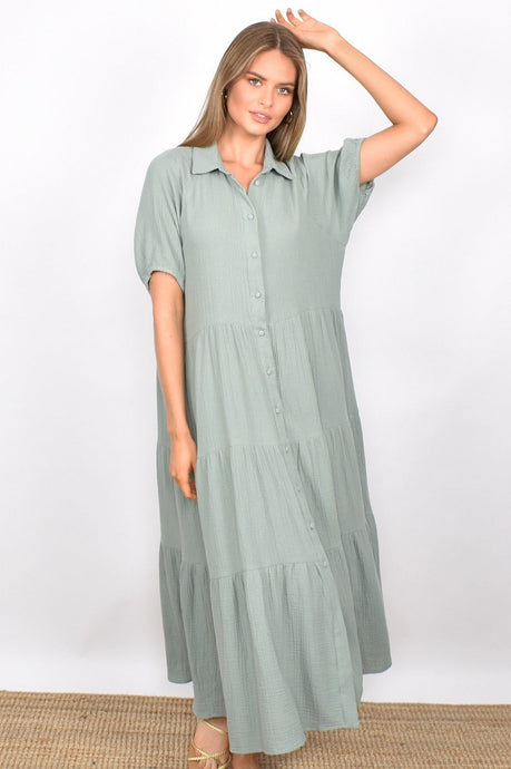 Adorne Molly Button Through Dress Sage - Global Free Style
