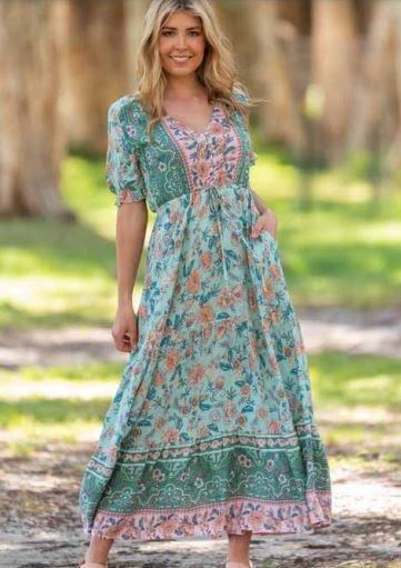 Boho Saldoni Maxi Dress Green - Global Free Style