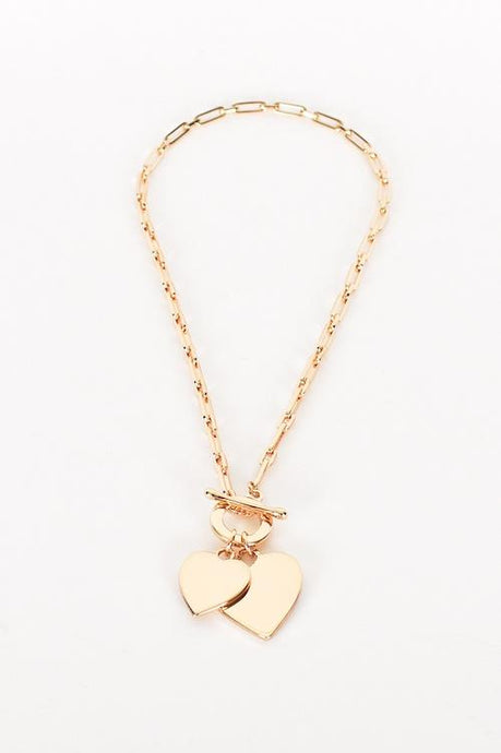 Adorne Heart Duo Fob Short Necklace Gold - Global Free Style