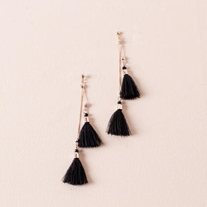 Adorne Chain Tassel Drop Stud Earrings Rose Black - Global Free Style