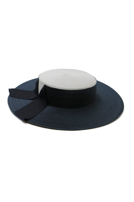 Morgan & Taylor Cleopatra Boater with Ribbon Detail - Navy & White - Global Free Style