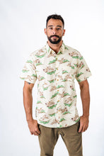 Skumi Mens Button Up Short Sleeve Shirt Cranes Cream - Global Free Style