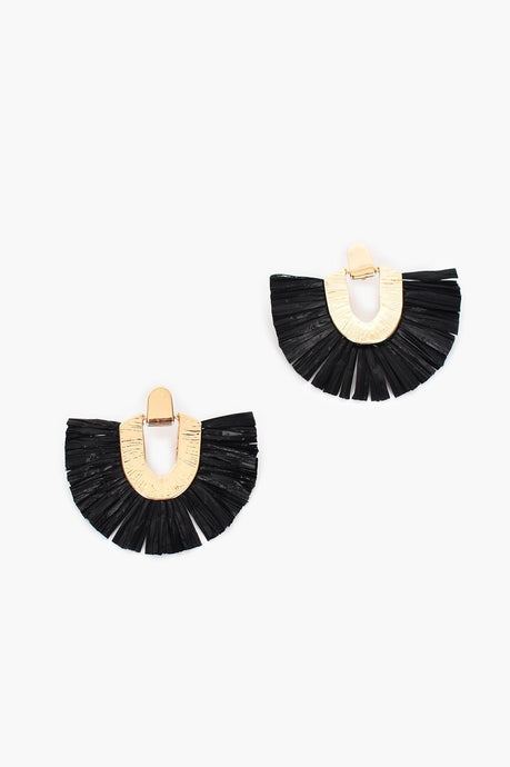 Adorne Ines Hinged Metal Fringe Stud Earrings Black/ Gold - Global Free Style