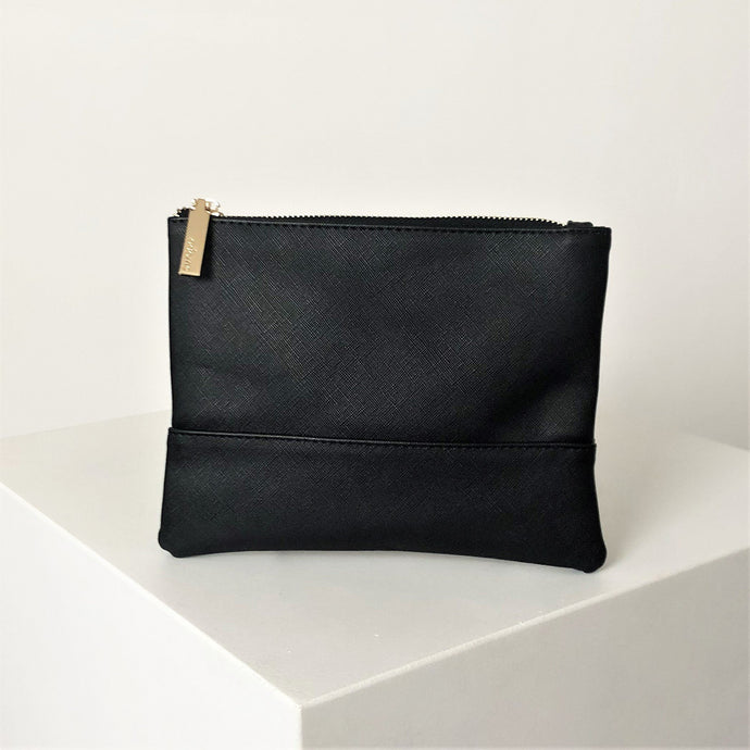Adorne Textured Stitch Line Pouch Black - Global Free Style