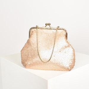 Adorne Sequin Metal Frames Small Purse Nude - Global Free Style