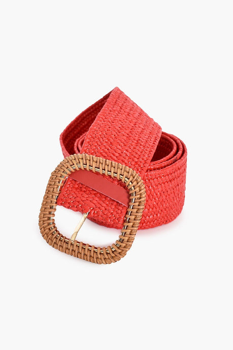 Adorne Rattan Buckle Weave Belt Red/ Natural - Global Free Style