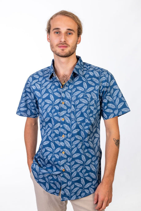 Skumi Mens Button Up Short Sleeve Sky High Blue - Global Free Style