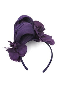 Morgan & Taylor Teegan Fascinator Fabric Floral Headband - Purple - Global Free Style
