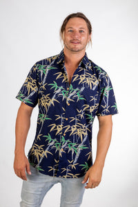 Skumi Mens Button Up Short Sleeve Bamboo Navy - Global Free Style