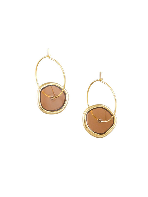 Tiger Tree Spinning Hoop Earrings Latte - Global Free Style