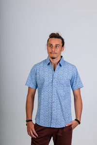 Skumi Men's Short Sleeve Shirt Little Birds - Light Blue - Global Free Style