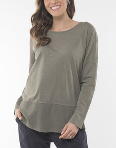 Elm Fundamental Rib Long Sleeve Tee Green - Global Free Style
