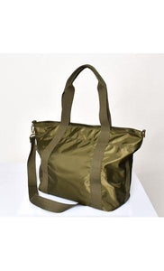 Adorne Bag Wet Look Webbing Strap Essential Tote Khaki - Global Free Style