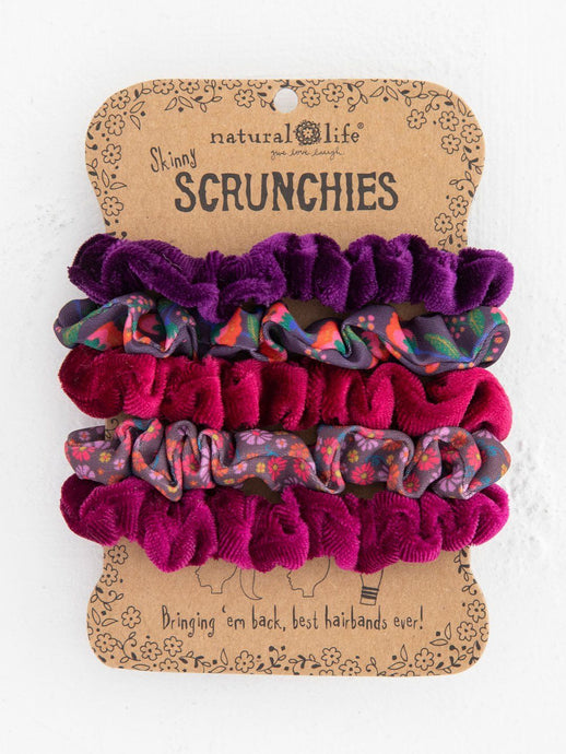 Natural Life Mixed Scrunchies Set of 5 Purple/ Pink - Global Free Style
