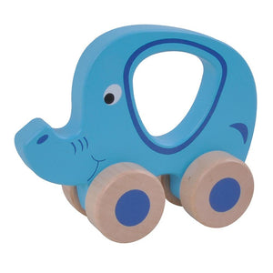 ToysLink Wooden Toy Wheelie Elephant Blue - Global Free Style
